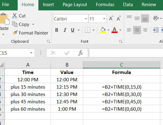 Add time in Excel