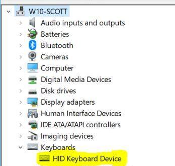 Windows Device Manager - keyboard typing backwards