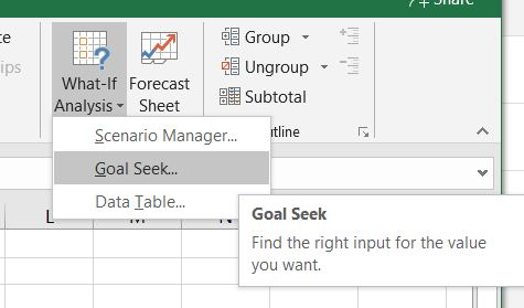 Goal Seek Feature in Excel