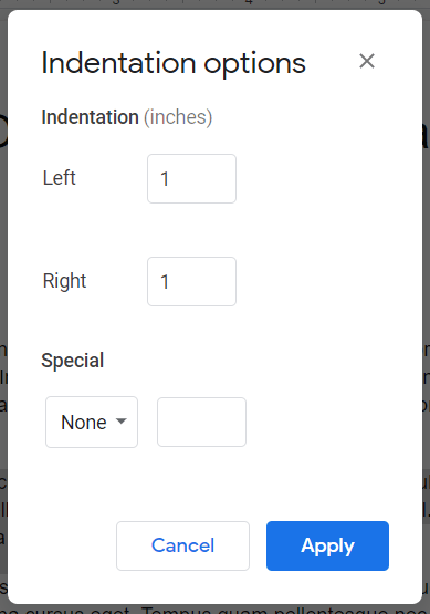 Google Docs Indentation options