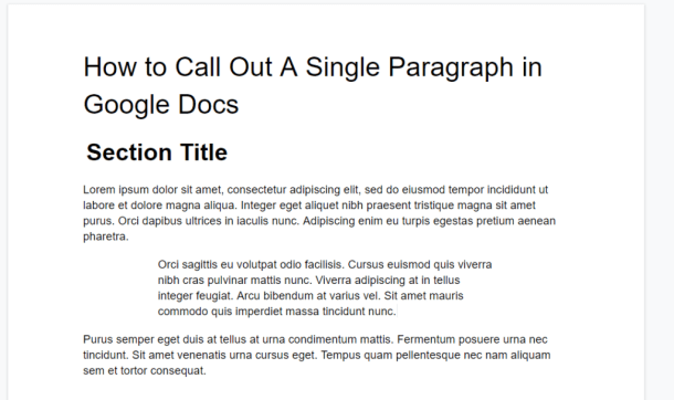 Google Docs Indented Paragraph