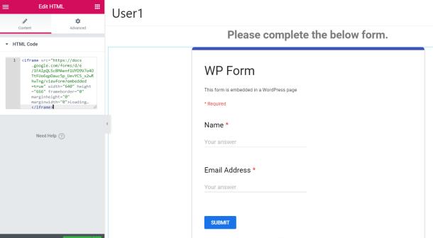 Embedded Google Form