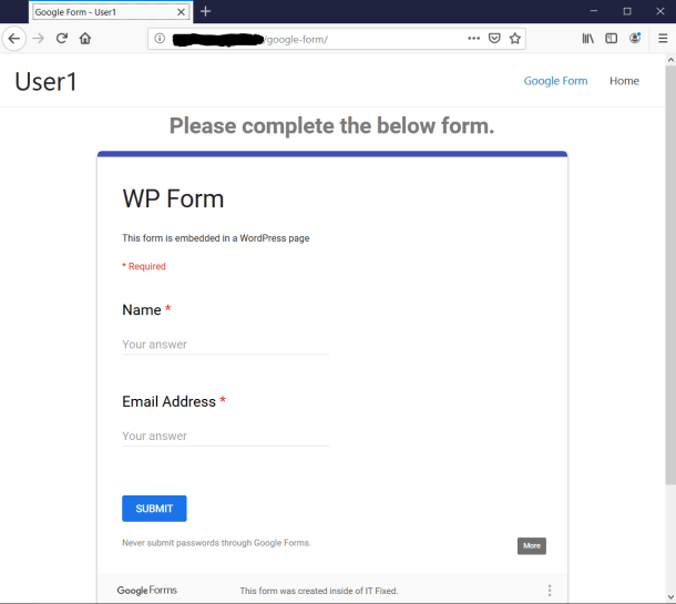 Google Form Page in Firefox