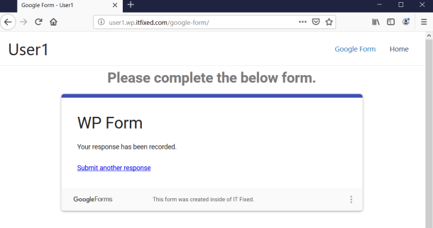 Submitted Google Form Message