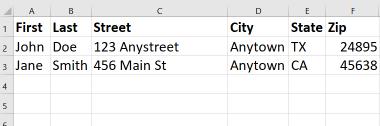 Excel example for concatenate() line break