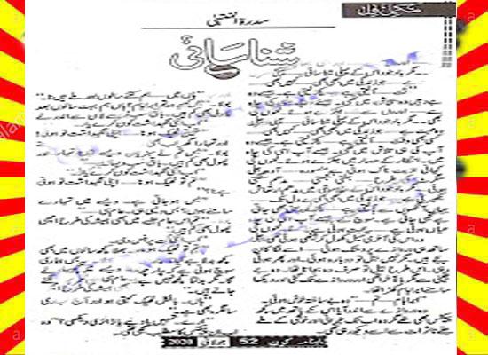 Shanasai Urdu Novel By Sidratul Muntaha