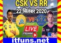 IPL 4th T20 RR VS CSK 2020 Live Score Update