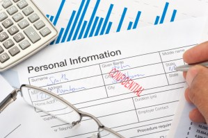 Personal information form with confidential stamp