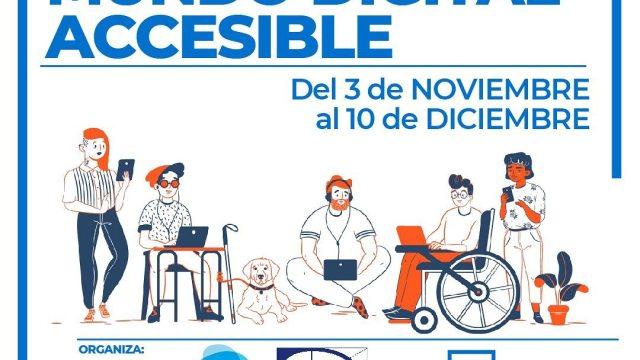 Flyer con dibujo de personas con diversidad funcional y logos de organizaciones