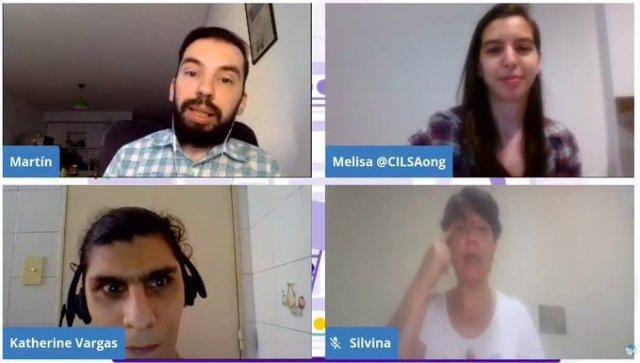 Captura de la charla con Katherine, Martín, Melisa e interprete de LSA.