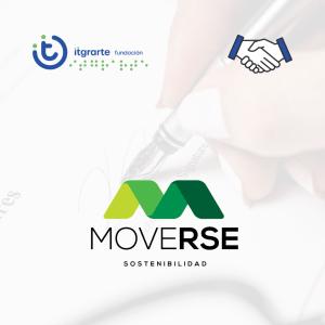 Logo Moverse e itgrarte fundación con fondo de firma de convenio.