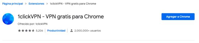 Captura de la página de Chrome store para instalar el complemento.