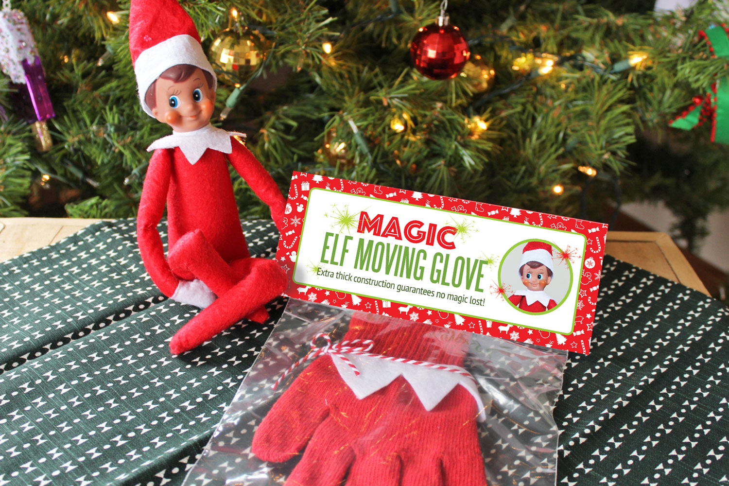 Diy Magic Elf On The Shelf Moving Glove With Free Printable Package How To Move An Elf On The