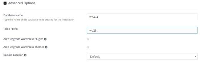 advance option ketika install wordpress