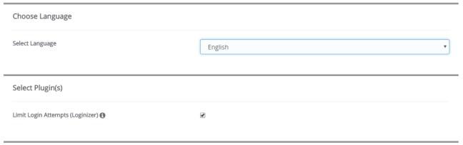 pilihan bahasa dan plugin semasa install wordpress