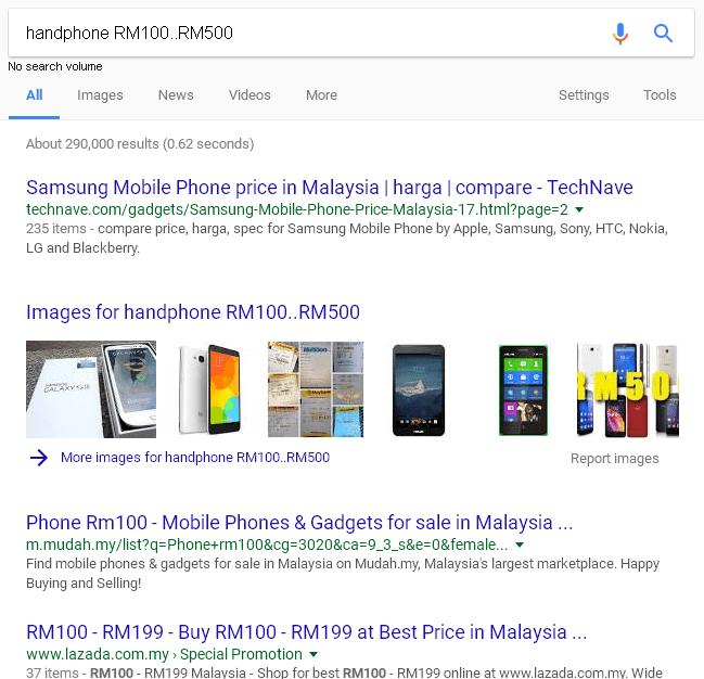 pencarian google melibatkan kunatiti dalam lingkungan tertentu