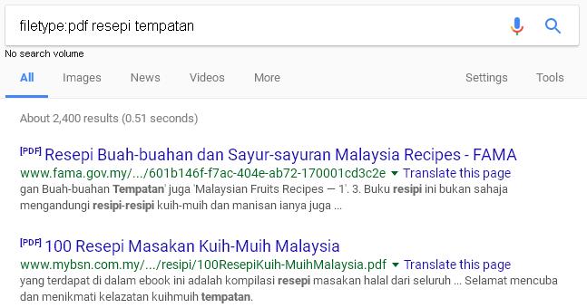operator filetype untuk pencarian fail jenis tertentu dalam gogle search