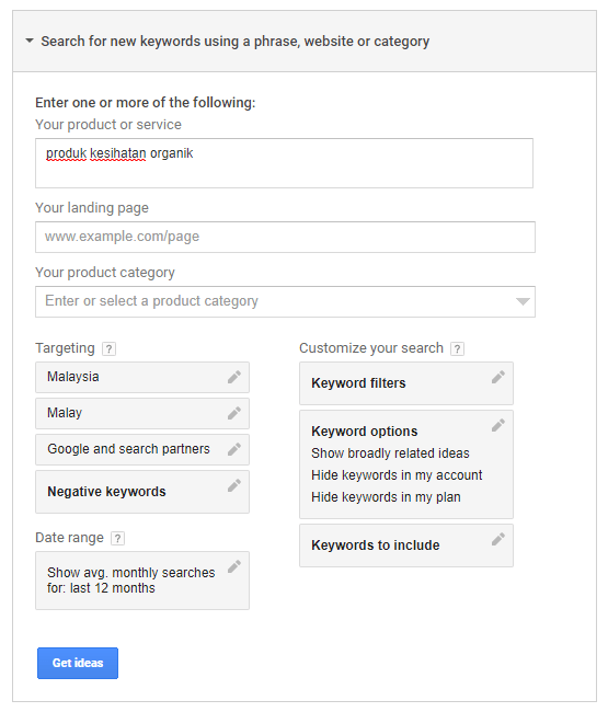 contoh setting pada google keyword planner