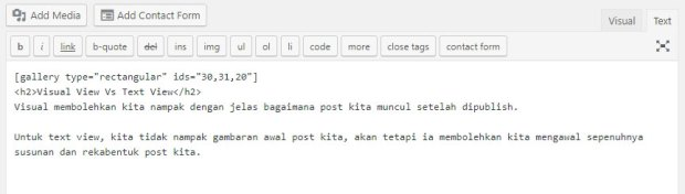 text view dalam wordpress