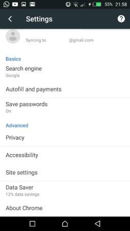 bahagian setting google chrome