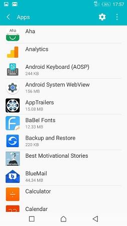 paparan apss pada setting android