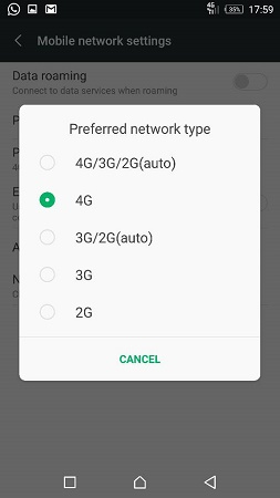 pilihan signal pada handphone android