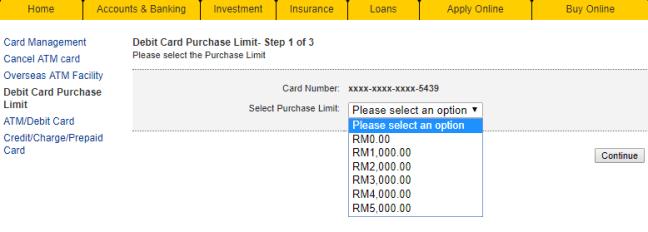 pilihan limit untuk had penggunaan kad atm maybank