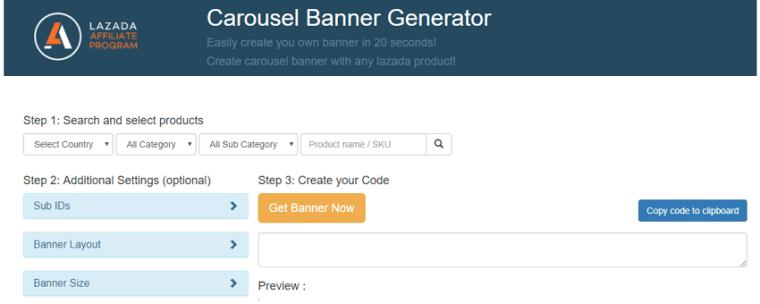 carousel banner generator panel