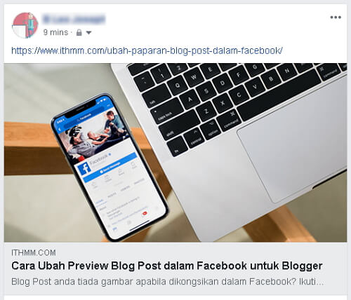 Paparan blog post dalam facebook setelah diubah