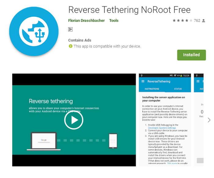 Aplikasi android Reverse Tethering NoRoot Free