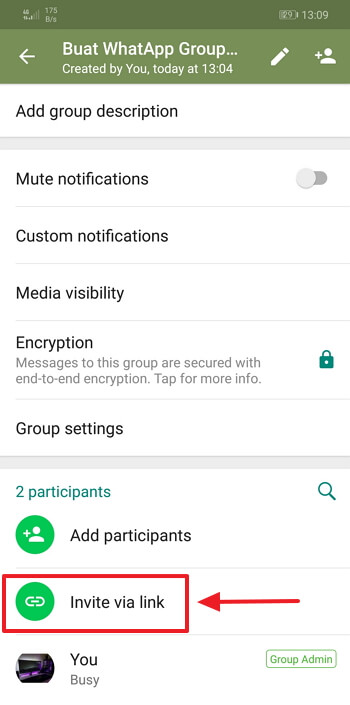 klik pilihan invite link WhatsApp group