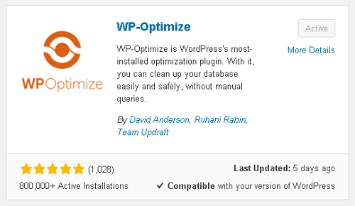 wp-optimize plugin
