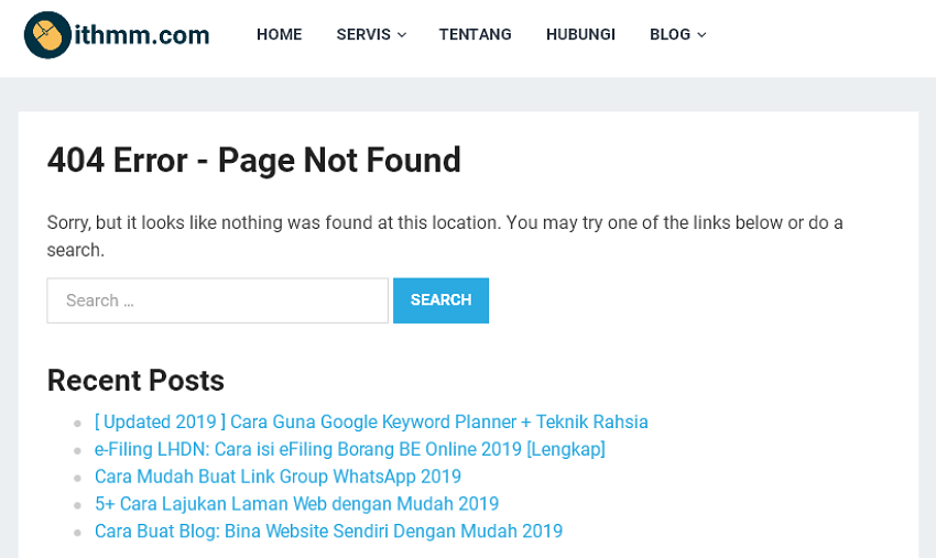 error 404 page not found bila nak update post