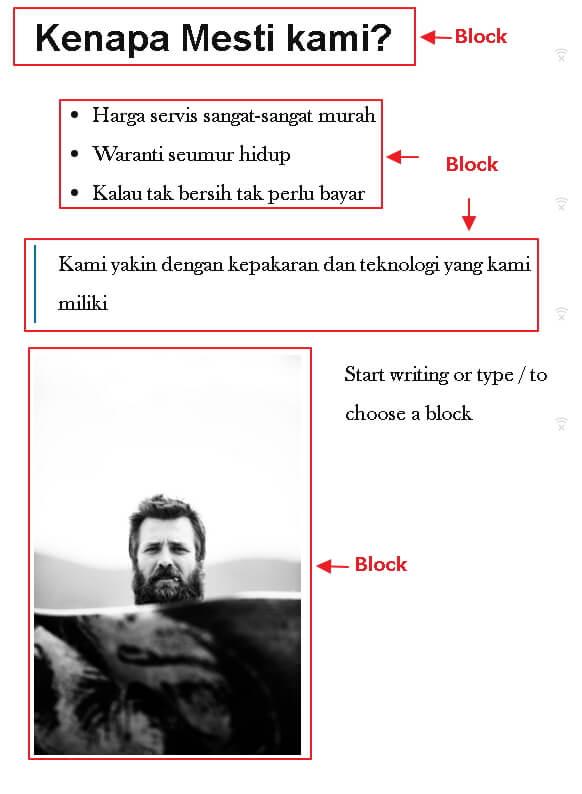 struktur block dalam post editor