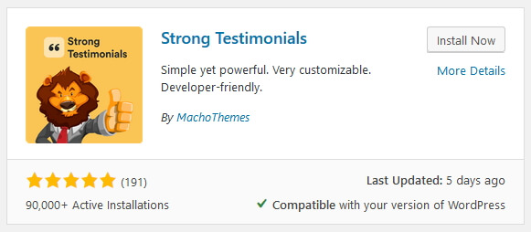 install strong testimonials