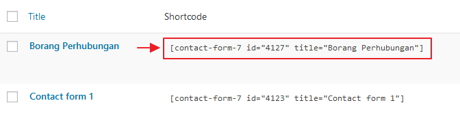 shortcode contact forms 7