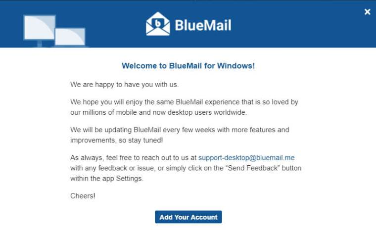 paparan welcome to BlueMail