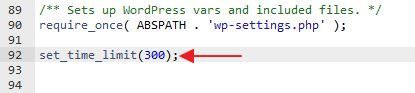 set time limit wp-config php
