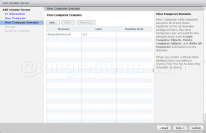 Add vCenter Server and VMWare View Composer in Horizon