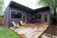 """Brilliantly Clever """"L"""" Shaped Purple Tiny House in ..."""