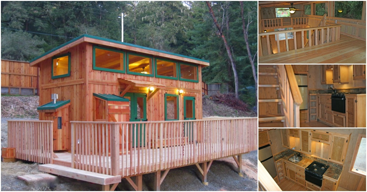 Check Out the Deck on the Hunter Green Cabin by Molecule Tiny Homes