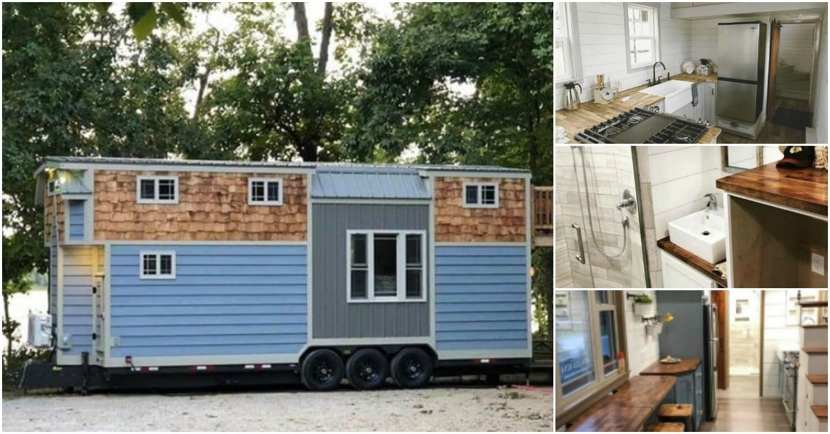 This Charming Blue Tiny House Is 340 Square Feet of Spacious Delight