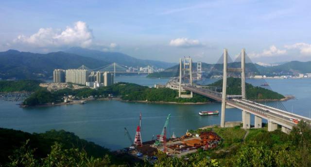 Kap Shui Mun Bridge, Tsing Ma Bridge, Ting Kau Bridge, Ma Wan and Tai Mo Shan seen from Ng Kwu Leng | 從五鼓嶺望汲水門大橋、青馬大橋、汀九橋、馬灣、大帽山