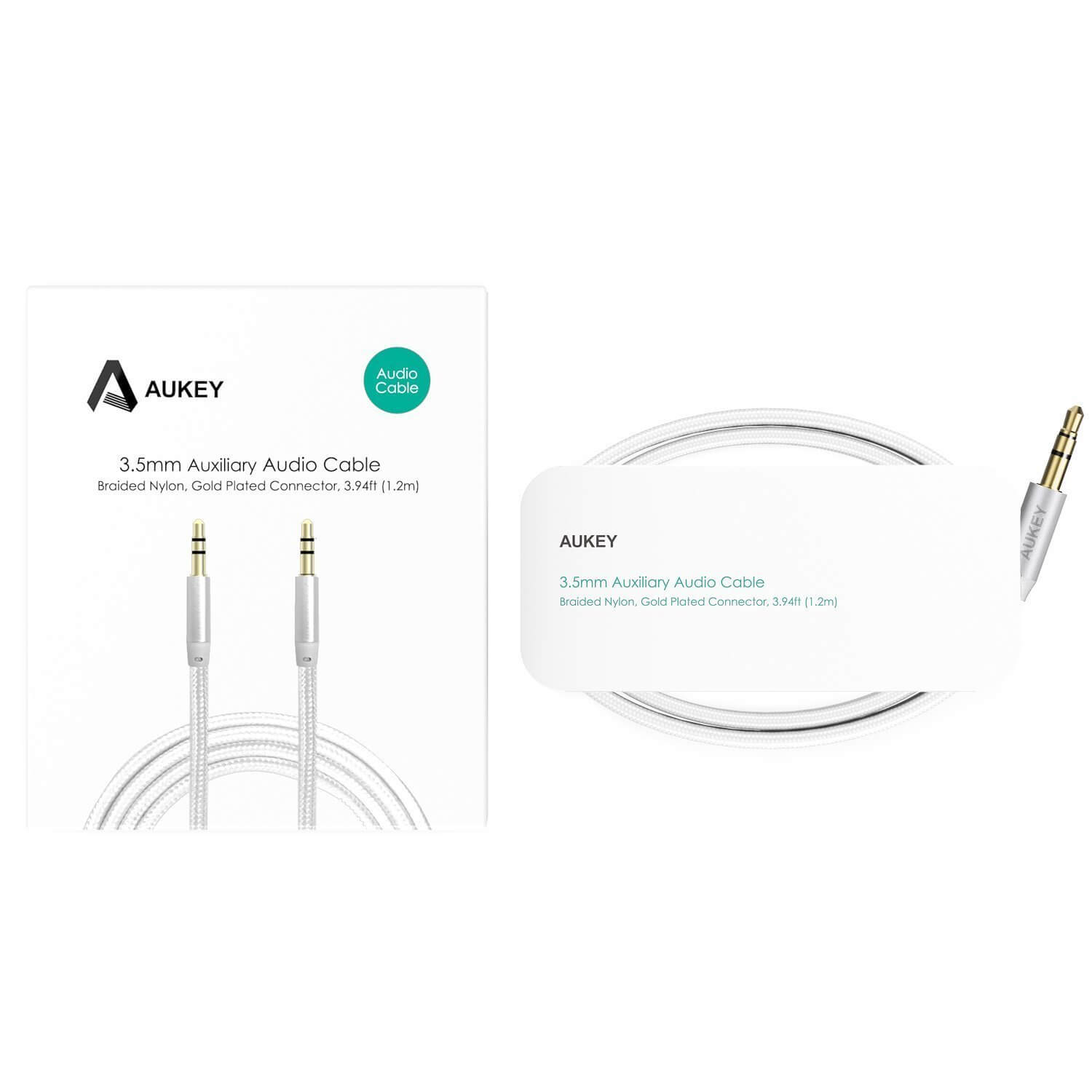 Aukey 3 5mm Auxiliary Audio Cable Braided Nylon 1 2m 3
