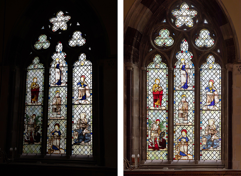 Original image on left. Finished image on right after post production perspective adjustement, exposure correction, selective dodging and burning especially on left side of window due to trees and bushes outside reducing the light transmitted through the glass.