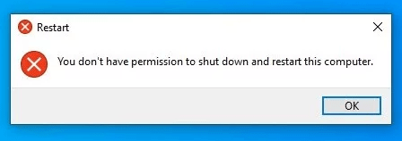 You don't have permission to shut down this computer