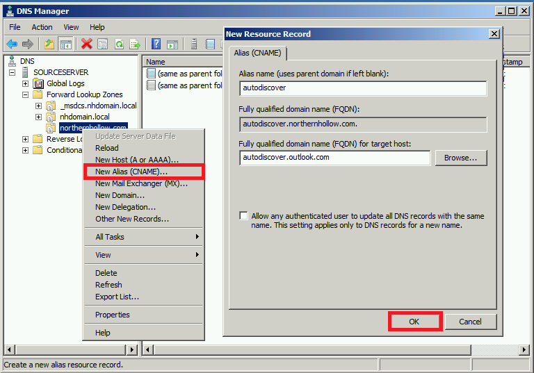 How to perform a cutover migration to office 365 itpromentor - Office 365 server settings for outlook 2010 ...