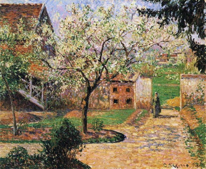 Plum Trees in Blossom, Éragny -Camille Pissaro painting - Impressionism art