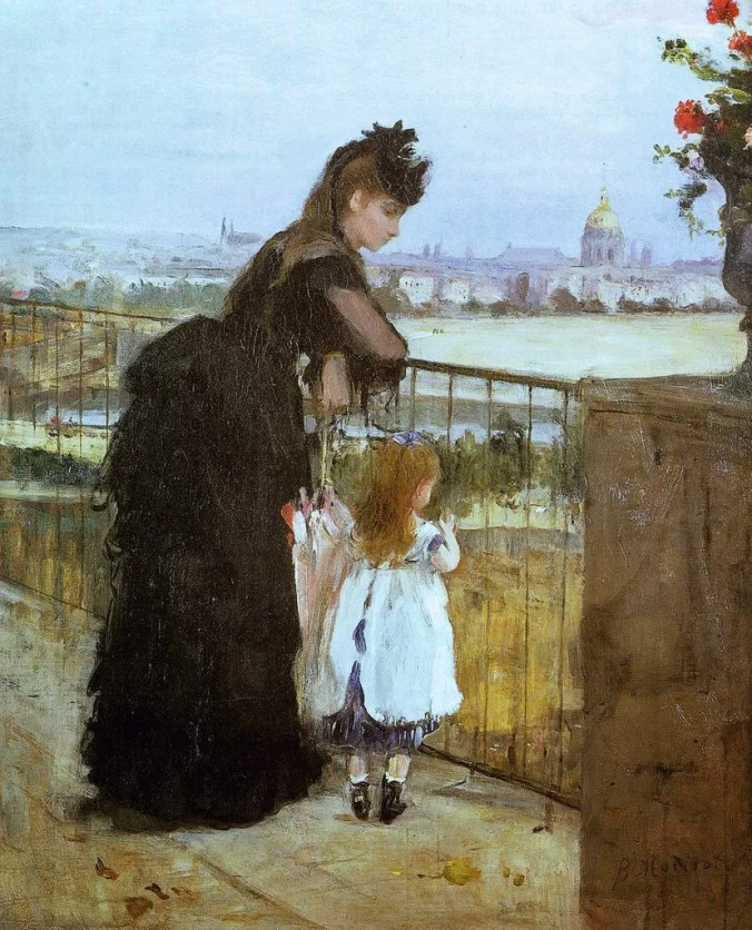 Berthe Morisot painting a woman and her daughter-