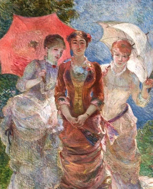 Three Ladies with Umbrellas (also known as The Three Graces of 1880) - Marie Bracquemond painting